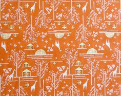 Orange Fabric  Orange Yellow White Giraffes by SuchPrettySupplies
