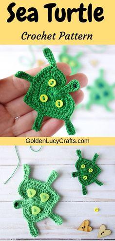 Crochet sea turtle applique, heart-shaped turtle, free crochet pattern. Embellishment for kids items, baby blanket, cute applique, ocean, sea theme. All Free Crochet, Cute Crochet, Crochet Motif, Crochet Patterns, Crochet Hearts, Crochet Appliques, Easy Crochet Projects, Crochet Ideas, Crochet Thread Size 10