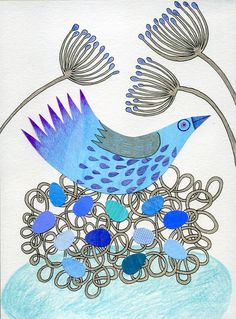 Becky Crawford, line drawing, collage, coloured pencil, blue bird, nest, eggs, flowers. Illustrated greetings card.  https://www.etsy.com/uk/listing/82234448/greetings-card-blue-bird-on-nest-with?ref=shop_home_active