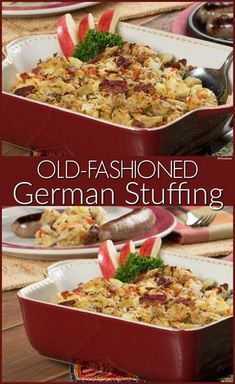 This hearty, German-style stuffing is loaded with plenty of fresh sauerkraut, bacon, and rye bread. World Cuisine Stuffing Recipes, Casserole Recipes, Rye Bread Stuffing Recipe, Sauerkraut Recipes, Pasta, International Recipes, Thanksgiving Recipes, Food To Make, Good Food