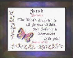 Sarah - Name Blessings Personalized Cross Stitch Design from Joyful Expressions