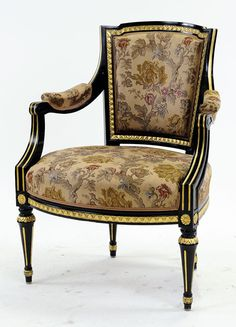 Late Gustavian chair from the end of the 19:th century painted black with gold decoration...