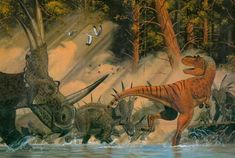 *Gorgosaurus VS *Styracosaurus.  Art by Gregory S. Paul