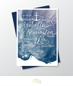 $50 on ETSY | The LAUREN Nautical . Invite Only Calligraphy & Custom Watercolor Wedding Invitation . Navy Plum Purple Beach Boat Anchor Starfish Water PDF