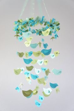 Bird Nursery Mobile Blue & Green Birds Baby by LoveBugLullabies