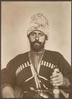 """""""Cossack man from the steppes of Russia,"""" Ellis Island, ca. 1906  photo by Augustus Sherman"""