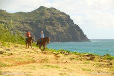 Horseback riding on Kauai is wonderful because you are sure to enjoy the view. One of the many great things to do on Kauai. Photo taken on Kauai's south shore by Dana Edmunds #Horse #Kauai #Hawaii