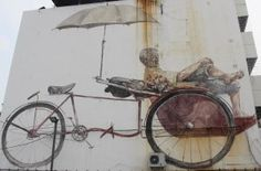 Trisahw Paddler, Georgetown, Penang Street Art, Malaysia