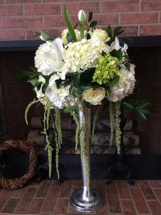 Tall White Floral Centerpiece in silver vase with tulips, hanging amaranthus, hydrangeas and roses by Eliana Nunes Floral Design | Winston Salem Wedding Florist