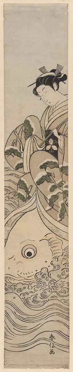 Woman Holding a Fishing Pole and Riding a Carp; Parody of the Immortal Qin Gao 見立琴高仙人 Japanese Edo period about 1769–70 (Meiwa 6–7) Artist Suzuki Harunobu (Japanese, 1725–1770)