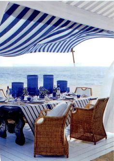 outdoor dining Sophisticated beachfront entertaining with a fresh maritime palette, from Ralph Lauren Home