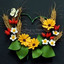 Quilled Daisy Field under a Sunny, Blue Sky in a Shadowbox Frame - Quilling by ManuK (Manuela Koosch)
