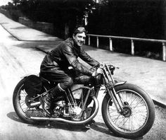 George Brough on his Matchless bike in 1938