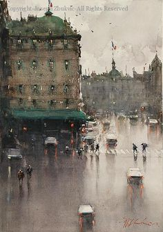 Wet Day, Paris (2011) - Watercolor by Joseph Zbukvic    Wow, love the feeling of a rainy day in this painting!