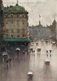 Wet Day, Paris (2011) - Watercolor by Joseph Zbukvic