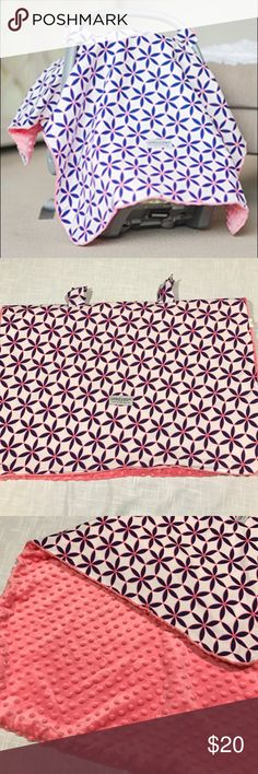 Pink & Blue Carseat Canopy Coral pink & navy blue carseat canopy with minky underneath. Used for about 2 months. In great condition!! Accessories