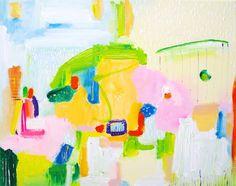 Geometric canvas painting - Pastel abstract art RAIN Soft colorful acrylic art for nursery - Modern original painting - Horizontal painting 15x20