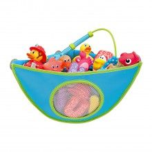 A corner organizer that resists mildew and ensures bath toys are orderly and dry.