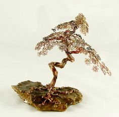 Bonsai Copper Wire Tree Art Sculpture By Metal Artist H-Omer - 1825  - FREE SHIPPING. $100.00, via Etsy.