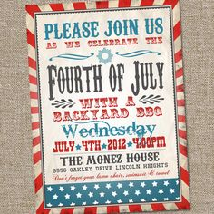 This Retro Vintage Fourth of July PRINTABLE party Invitation can be customized with other colors or as a birthday or other event invitation as well! Print as many as you would like for one low price!