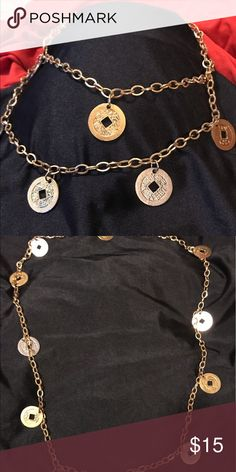 Vintage Gold and Silver Coin Necklace Vintage gold chain link necklace with coin accents. Double up the necklace for layered look or like normal for the perfect accessory to any outfit! Jewelry Necklaces