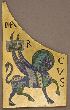Plaque with the Symbol of the Evangelist Mark - Date: ca. 1100 Geography: Made in Conques, France Culture: French Medium: Copper: cut and gilt; champlevé and cloisonné enamel: black, lapis and lavender blue, turquoise, green, red, white, pinkish white.