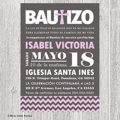 Spanish Baptism Invitation Printable por ThreeLittleParties