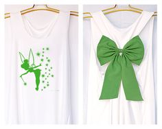 Tinkerbell Pixie dust Peter pan Tank Premium with Bow : Workout Shirt - Tank Top - Bow Shirt - Razor Back Tank-Disney shirt-Tinkerbell tank