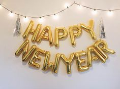 HAPPY NEW YEAR balloon banner gold foil mylar letter balloons garland with tassels kit