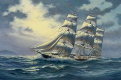 painting of old sailing ships in stormy seas | Oil Painting of Clipper Ship Comet on the High Seas