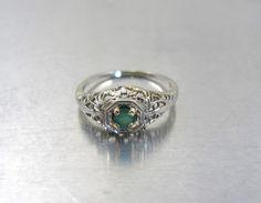Emerald Engagement Ring Art Deco 14K White by TonettesTreasures