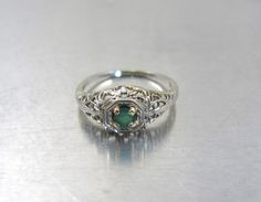 14K Art Deco Emerald Engagement Ring, 14K White Gold Filigree Gemstone Solitaire Ring, May Birthstone Emerald, Size 6, Two Tone Gold Jewelry