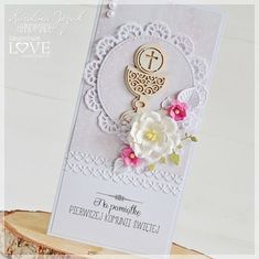 First Communion Cards, Holy Communion Invitations, Christian Cards, Baby Cards, Hobbies And Crafts, Invitation Cards, Christmas Decorations, Birthday Parties, Place Card Holders