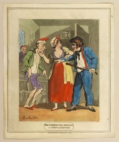 The Unexpected Return A hand-coloured print of a woman trying to pacify an… Sailor Outfits, Boys Watches, The Royal Collection, Small Boy, Royal Navy, His Hands, Caricatures, Satire, Hand Coloring