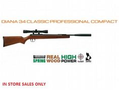 The Diana 34 Classic Professional Compact Air Rifle is a new air rifle in the Diana air rifle range.  As the 34 Classic Pro model, but with a shorter barrel, therefore far easier handling. T06 Metal Trigger      Length (total) 106cm     Length (barrel) 39.5cm     Weight 3.6kg