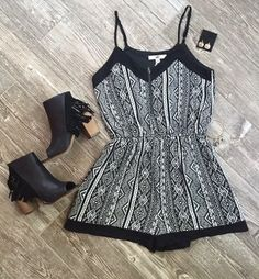 Black/Cream Printed Romper