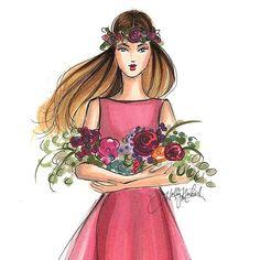 Blooms #fashionsketch #flowercrown #fashionillustrator #fashionillustration #hnicholsillustration #copicmarkers #copic #bostonartist #bostonblogger #bostonillustrator #boston