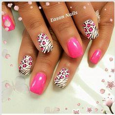 Fancy Nails, Diy Nails, Cute Nails, Pretty Nails, Pink Zebra Nails, Leopard Print Nails, Zebra Nail Art, Gorgeous Nails, Fabulous Nails