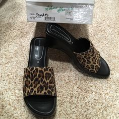 """🎯Athena Alexander Animal Satin Sandles Size 10M but fits like a 9. Only worn a couple of times. Wedge heals 2-1/2"""" plus the cushion on the shoe. Bought at Nordstrom. Soft and comfortable! Athena Alexander Shoes Sandals"""