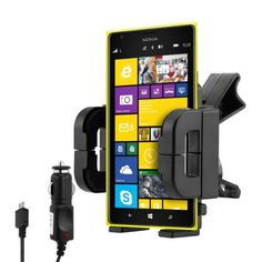 kwmobile® Car vent mount for Nokia Lumia 1520 + charger - Mobile phone fits into mount with case or cover! Quality.