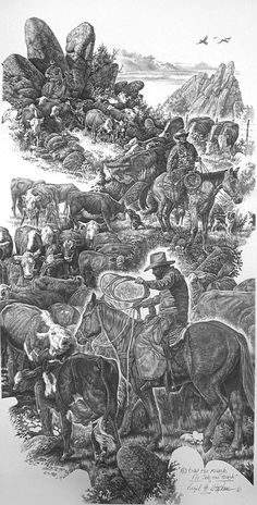 No Trail Too Rough, No Job Too Tough, cattle drive and cowboys pencil drawing by western Artist Virgil C. Stephens