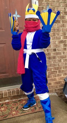 greninja costume blue cardigan blue pants pink scarf blue painters tape