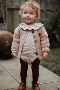 Shirley Bredal knits for kids are hand knitted by 200 amazing knitters - working under fair conditions in Kathmandu valley. Danish design knitted from sustainable fibres. We ship worldwide. Sweetest girl by - wearing our dusty pink Edith kids cardigan. Crochet Clothes For Women, Crochet Baby Clothes, Cute Baby Clothes, Fashion Kids, Little Girl Fashion, Toddler Fashion, Baby Kind, Free Baby Stuff, Cardigans For Women