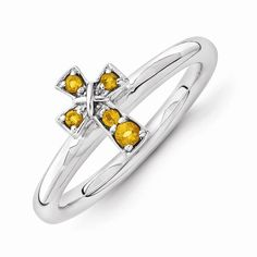 Stackable Expressions Sterling Silver Rhodium Citrine Cross Ring