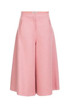 Valentino's linen culottes are styled with an effortless grace, and made feminine in a pretty shade of rose pink. The wide-leg cut and airy fabric is ideal for warmer climates and chic vacation packing #Stylebop