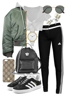 """""""Untitled #22071"""" by florencia95 ❤ liked on Polyvore featuring adidas, Gucci, WithChic, Vetements, Versace, adidas Originals, Ray-Ban and Skagen"""