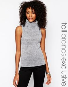New Look Tall Sleeveless Top With Roll Neck