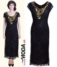 Dlhé čierne spoločenské šaty pre moletky s originálnou aplikáciou…