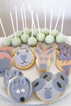Australian Animals Sugar Cookies. Koala, Possum, Wombat, Echidna and Kangaroo
