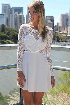 Sexy Wedding Party Long Sleeve Lace Skater Dress